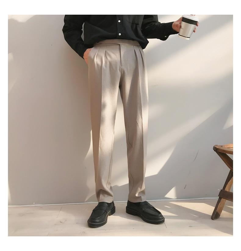 2019 Mens Silk Formal Business Casual Pants Western-style Trousers Vertical Slim Suit Pants Black/grey/Beige Color Social Pants
