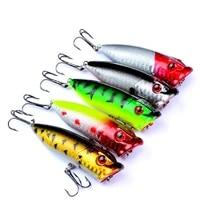 5 pcs set Fishing Baits Popper Bait 2 9 -7 3 cm   0 39 oz-11g 6   Fishing High Carbon Steel Fishing Hook Face Lure Tackle