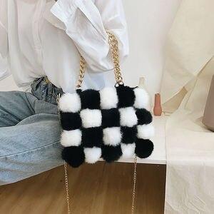 Faux Fur Plush Shoulder Bags for Women's Autumn And Winter Fashion ladies Vintage Handbags women Large Capacity Messenger Bags