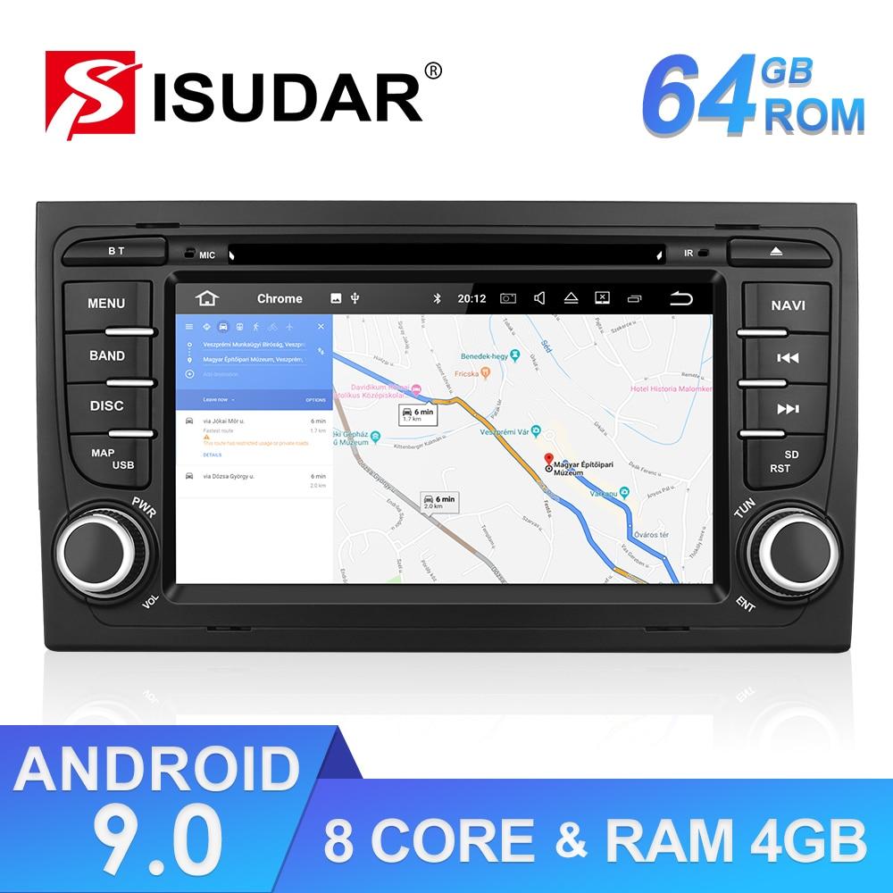 Isudar ROM 64GB 2 Din Auto Radio Android 9 For Audi/A4/S4 2002-2008 GPS Car Multimedia Octa Core RAM 4GB DSP USB DVR Camera FM