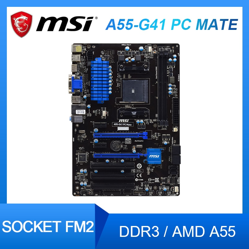Материнская плата MSI A55-G41PC Mate для настольного компьютера, разъем FM2 + DDR3 AMD, поддержка A55