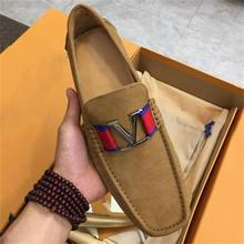 2021 New Men's High-quality Brown Suede Metal Decoration Low-heel Comfortable Fashion Casual Classic