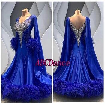 competition Modern Waltz Tango Ballroom Dance Dress,Smooth Standard ,long sleeve dance dress.royal blue royal  ostrich Fethers