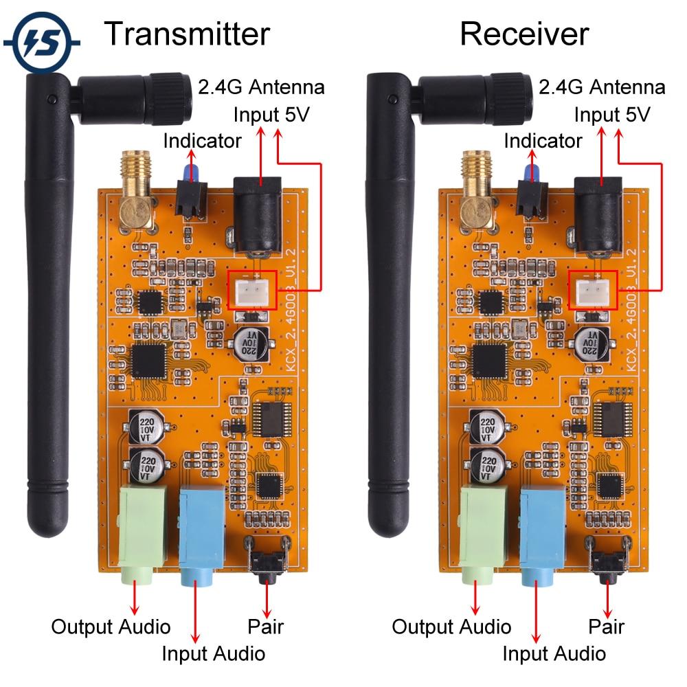 جهاز ريسيفر استقبال وإرسال لاسلكي تيار مستمر 5 فولت 2.4G ISM HiFi في الوقت الحقيقي ستيريو الصوت مثبت جهاز إرسال واستقبال GFSK 16Bit/44.1Ksps