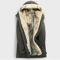 winter leather fur wolf liner men fur coat parker coat hooded thick coat mens warmer leather jacket really wolf hair