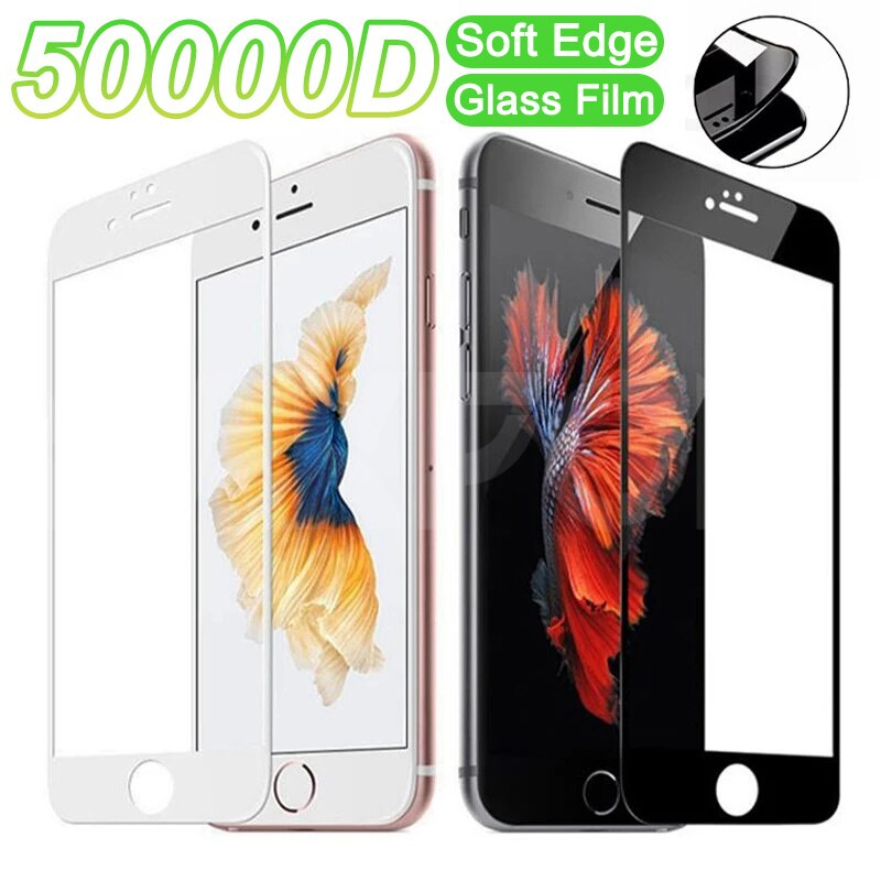 50000D Full Cover Tempered Glass For iPhone 8 7 6 6S Plus SE 2020 Screen Protector iPhone 8 7 6 6s P