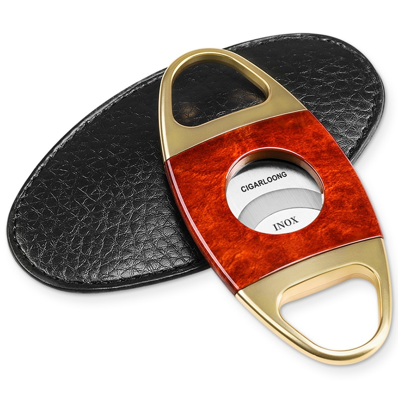Stainless Steel Cigar Cutter Sharp Double Edged Colorful Personality Cigar Accessories Leather Case Fumar Home Products DG50XJ enlarge