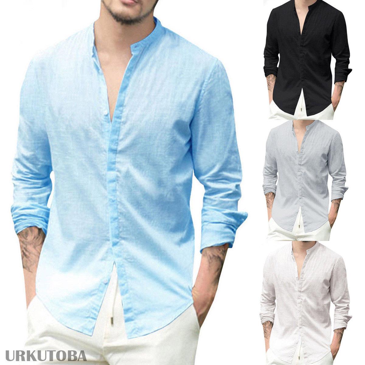 Новые мужские рубашки с длинным рукавом из хлопка и льна повседневные рубашки для мальчиков рубашка из хлопка с v-образным вырезом китайски...