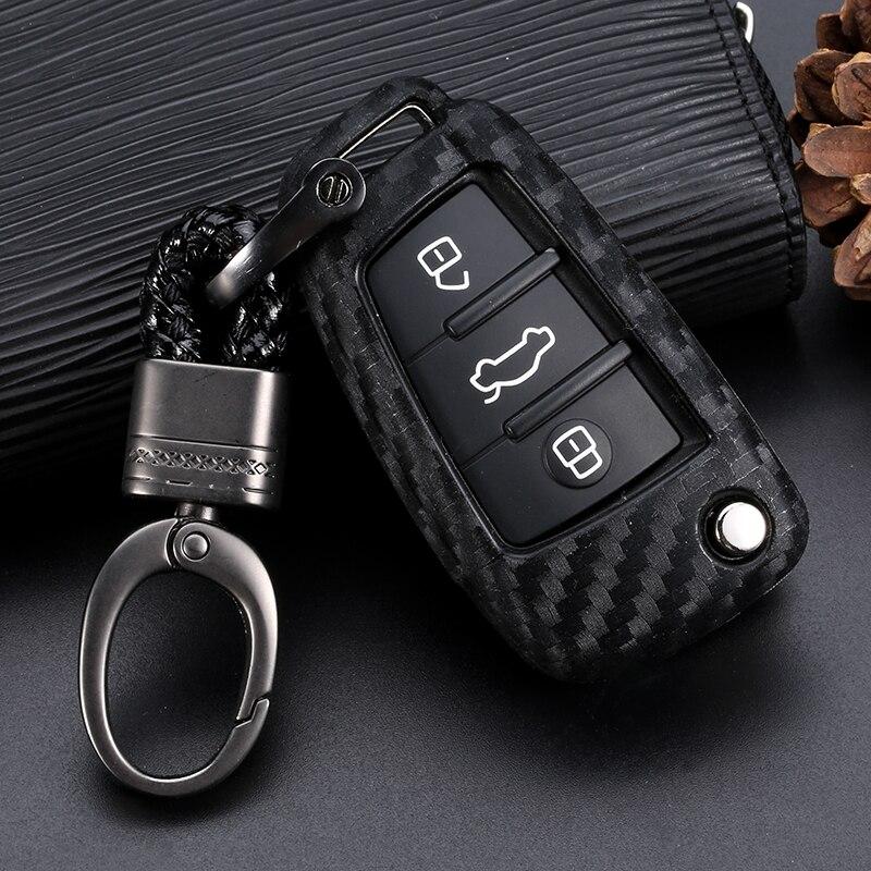 Чехол Fob для Audi A3, 8L, 8P, A4, B6, B7, B8, A6, C5, C6, 4F, RS3, Q3, Q7, TT, из углеродного волокна, силикагель, 3 кнопки, дистанционный ключ