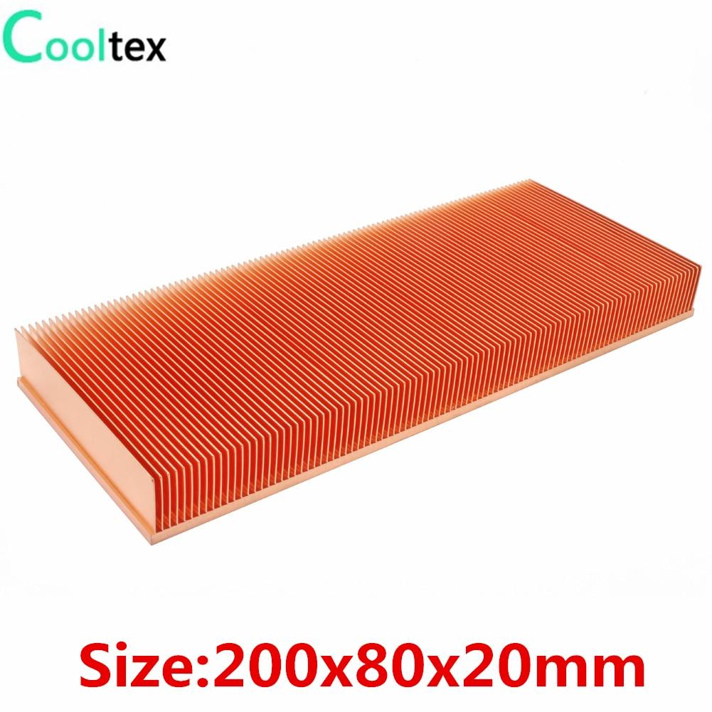 مبرد تبريد نحاسي نقي 100% × 80 × 20 مللي متر ، زعنفة تبريد ، لرقاقة إلكترونية ، مكبر طاقة LED ، جديد لعام 200