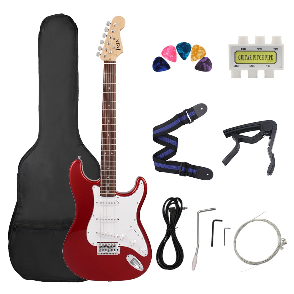 M MBAT 21 Frets Electric Guitar Kit Solid Wood Body Maple Neck 6 Strings Guitar Picks Strap Bag Tuner String Parts Accessories
