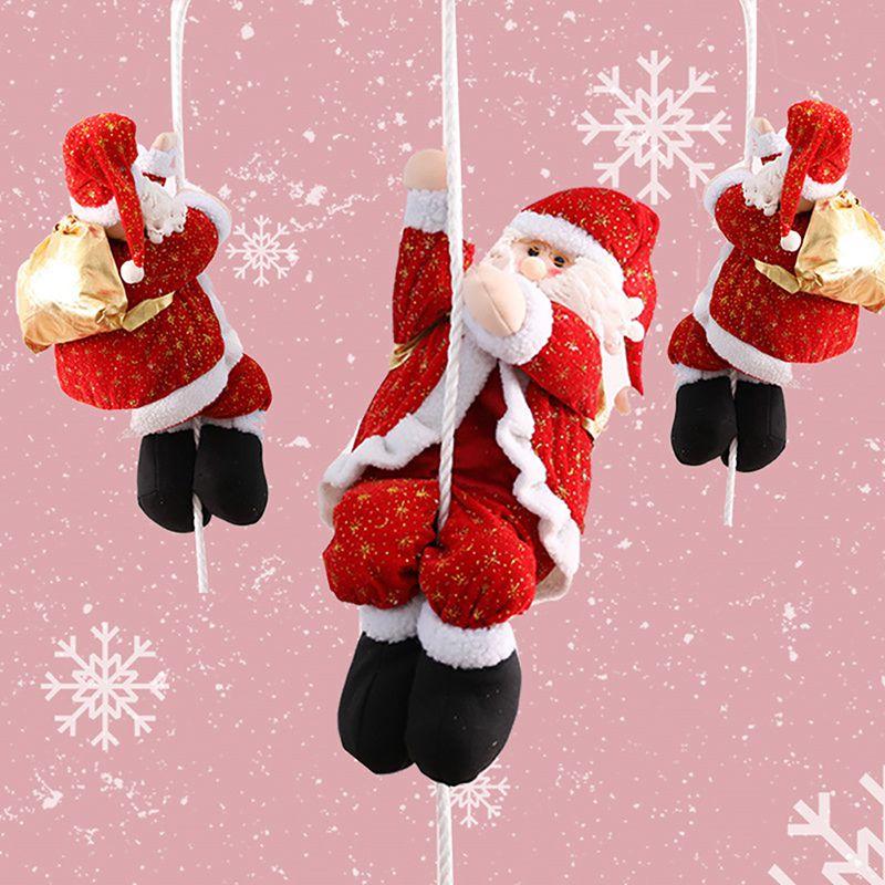 ¡Colgante de Navidad decoración de Navidad Santa Claus escalada en la cuerda para interior exterior ventana colgante ornamento de Navidad nuevo!
