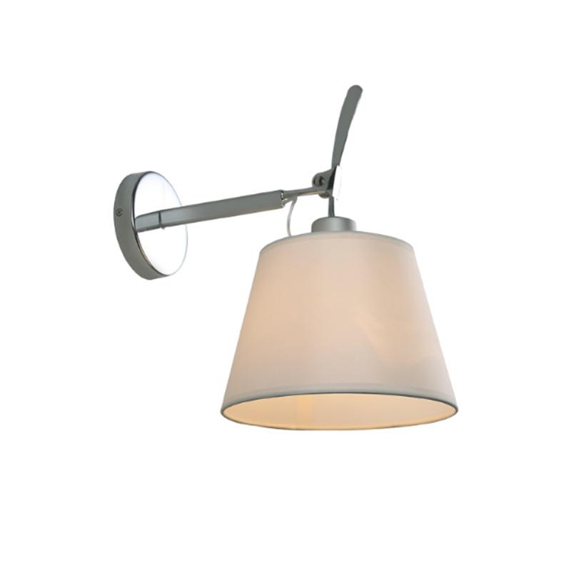 Nordic modern chrome metal single head wall lamp simple creative fabric lampshade adjustable bedside decoration lamp LEDlighting