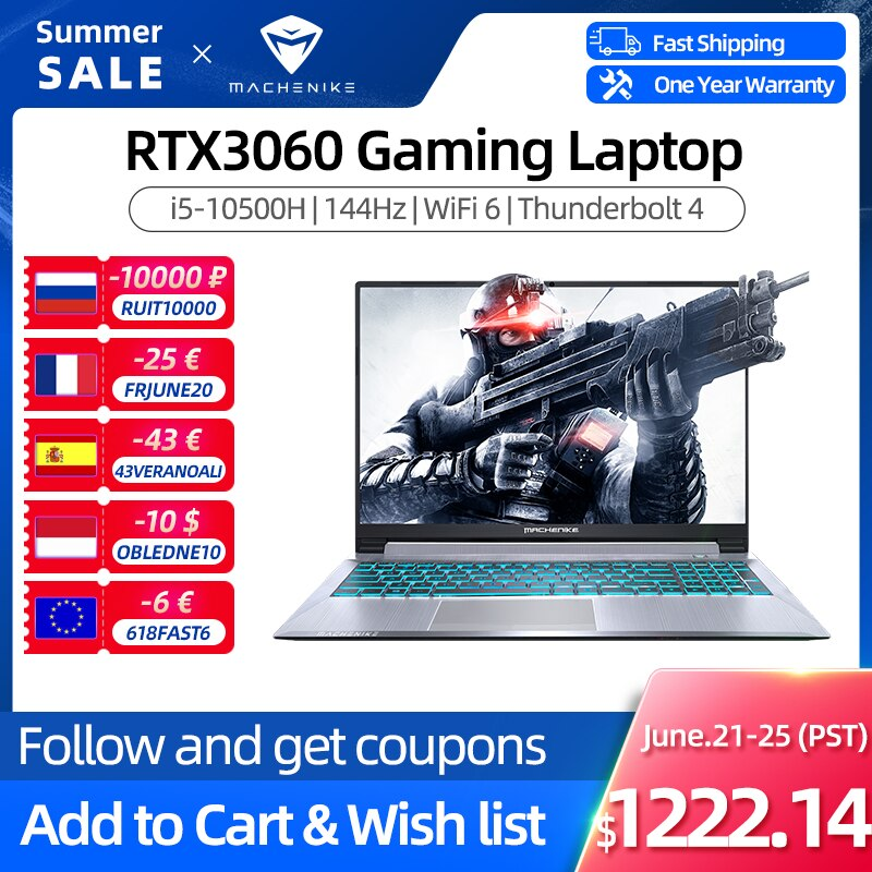 Machenike T58 RTX3060 Gaming Laptop i5 10500H 16G 512G SSD 144Hz 15.6'' WiFi6 Backlit Keyboard Notebook Computer