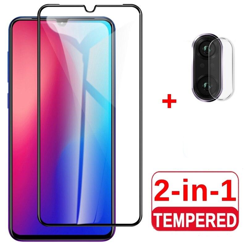 Película de vidrio templado 2 en 1 para Vivo Y11 Y19 Y91c Y12 Y17 Y95 Y93 Y71 Protector de película de teléfono con pantalla de pegamento completo