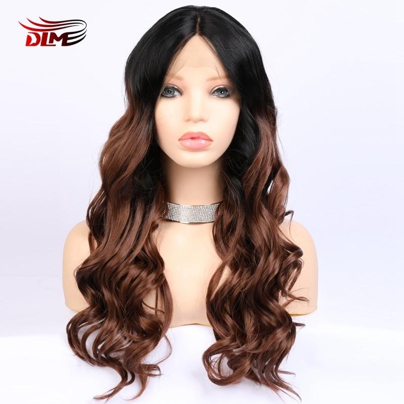 DLME-شعر مستعار صناعي مموج طويل للنساء ، شعر مستعار أمامي من الدانتيل ، مقاوم للحرارة ، جذور سوداء ، تأثيري
