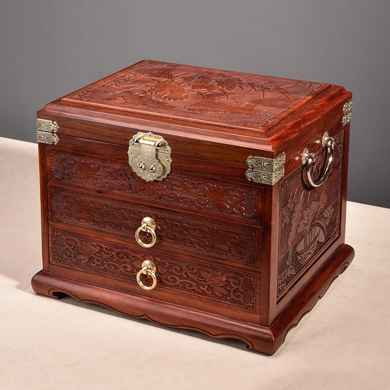 Luxury Vintage Multi Layer Jewelry Storage Box Organizer Case Red Sandalwood Wood Large Desktop Storage Box Jewelry Drawer Gift