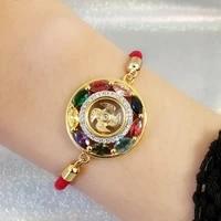 lp luang por thailand round transfer wheel bracelet buddhist bring lucky health jewelry gift for family friend bracelets