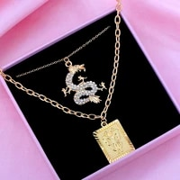 2pcs multilayer necklace crystal dragon pendant square carved butterfly coin pendants long chain gold silver punk jewelry gifts