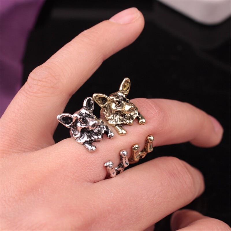 12 unids/lote de pequeños anillos de Corgi ajustables para mujeres y niños, anillos para regalo de cumpleaños