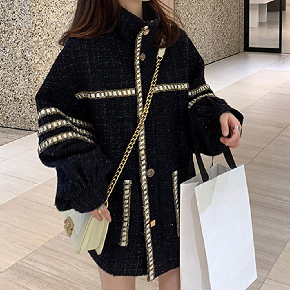 4XL حجم كبير المألوف تويد سترة نسائية شقيقة الدهون الكورية الخريف الشتاء سميكة الصوفية معطف الإناث مزاجه فضفاضة