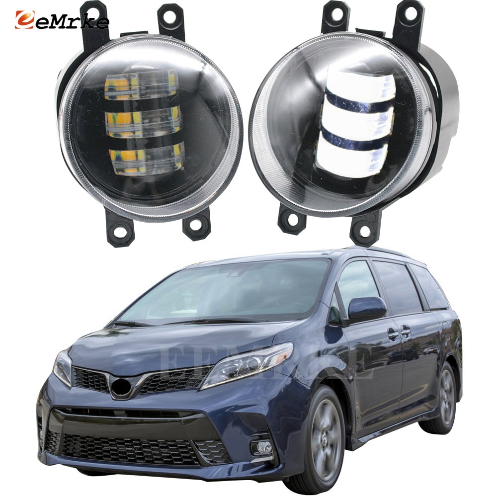 2-Pcs White/Yellow LED Anti Fog Lights Lamp Assembly for Toyota Sienna XL30 2nd Facelift 2018 2019 2020 Car Accessories
