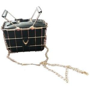 Fashion Designer Women Handbags New High-Quality PU Leather Women Bag Iron Basket Square Bag Chain Shoulder Messenger Bag(Black)