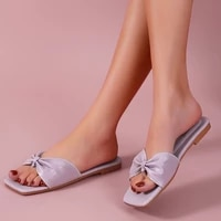 new 2021 summer woman flat slippers pu leather feminino korean style beach casual chaussure outside rome bow knot slides shoes