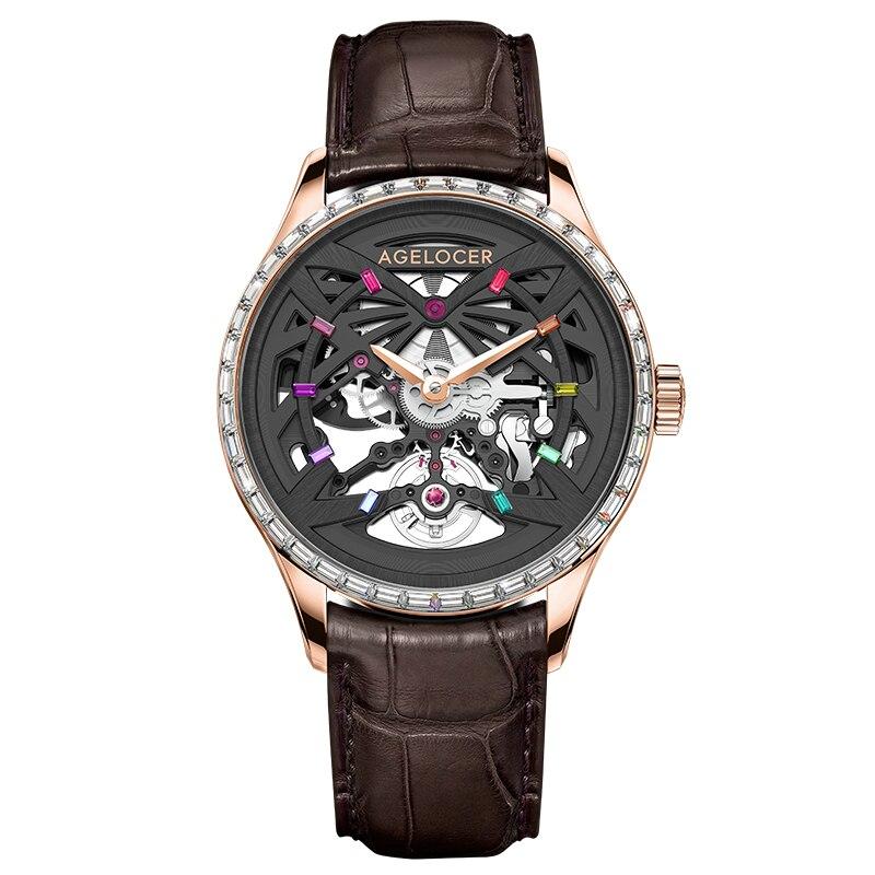 AGELOCER أفضل العلامة التجارية الأصلية الميكانيكية ساعات رجالية الهيكل العظمي الفاخرة الرجال ساعة أوتوماتيكية الياقوت الماس الأسود ساعة رجالي