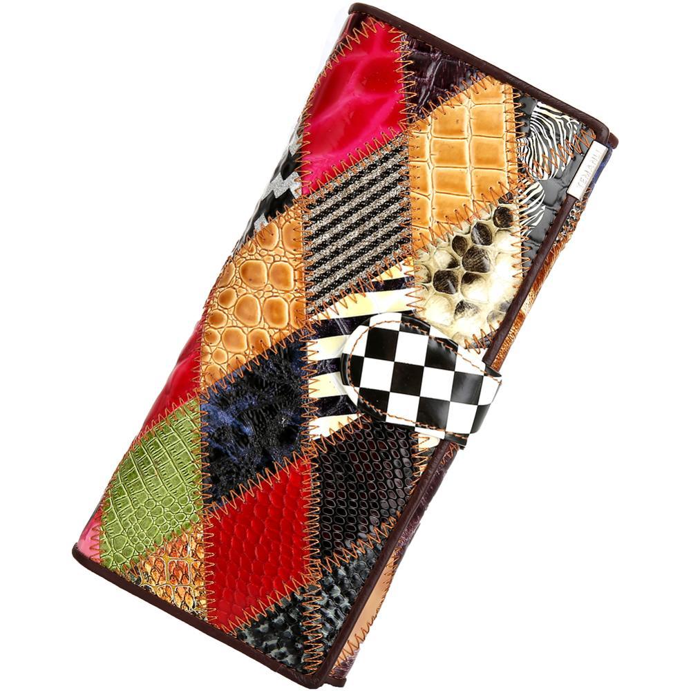 Women's Wallet Colorful Genuine Leather Long Clutch Wallets Female Coin Purse Card Holder Fashion De