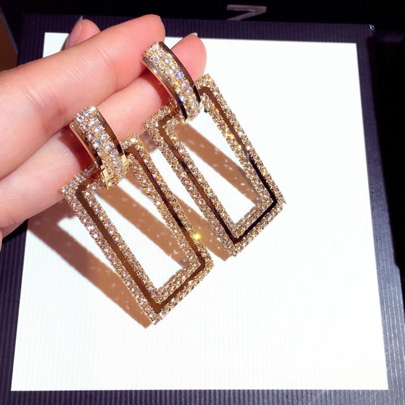 Bling lxury brilhando brincos de gota de cristal ouro quadrado strass balançar brincos para festa de casamento feminino jóias