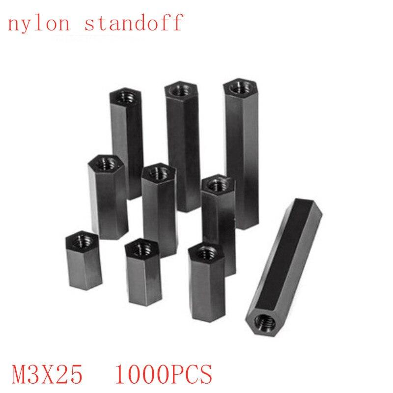 1000 قطعة/الوحدة الأسود النايلون المواجهة M3 * 25 M3x25 الإناث إلى الإناث النايلون البلاستيك فاصل طويل عرافة الجوز