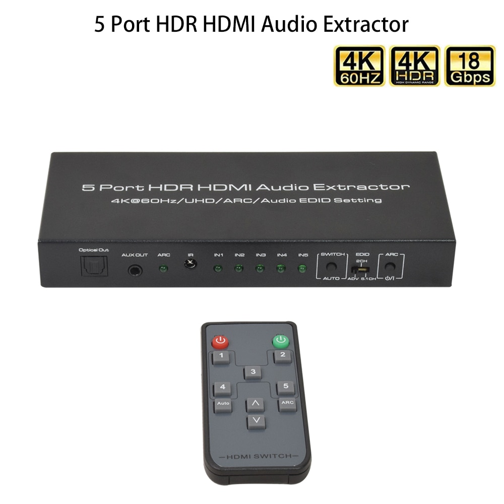 4K/60HZ 5 Port HDR HDMI-Compatible Audio Extractor 5 In 1 Out Hdmi Switch With IR Control for Notebook PS4 PS3 Apple TV to HDTV