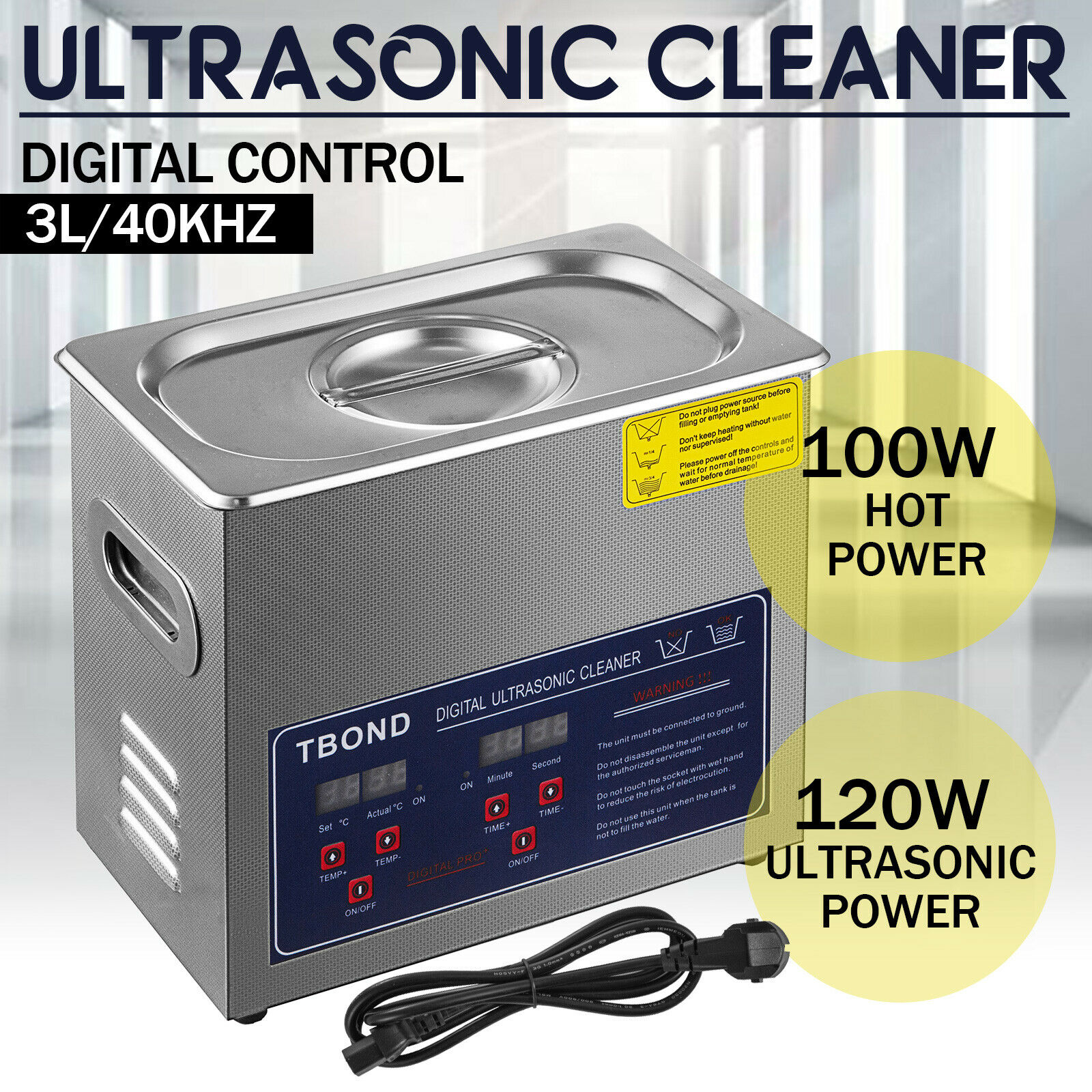 3L New Ultrasonic Cleaner Washing Machine Leave-Dishes Portable Heated W/ Timer Heater Jewelry Glasses Cleaning Home Appliances