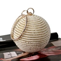 golden diamond clutch evening bags chic pearl round shoulder bags for women 2020 new luxury handbags wedding party clutch purse