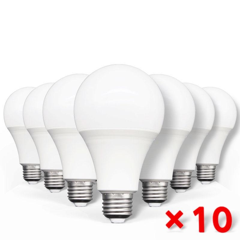 Светодиодные лампочки E27, 240 в, В переменного тока, 20/18/15/12/9/5/3 Вт, 10 шт.