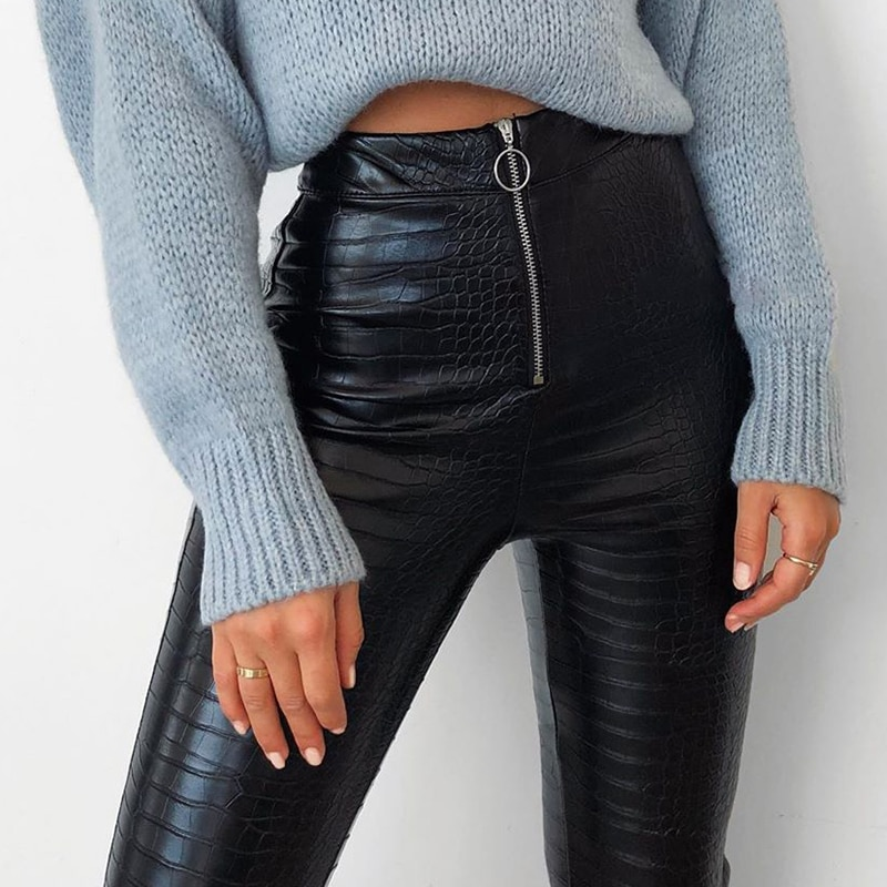 Zoulv 2021 Leisure Zipper High Waist Faux Leather Pants Women Pencil Skinny Office Ladies Trousers Casual Slim Black Capris skull zipper fly skinny faux leather pants
