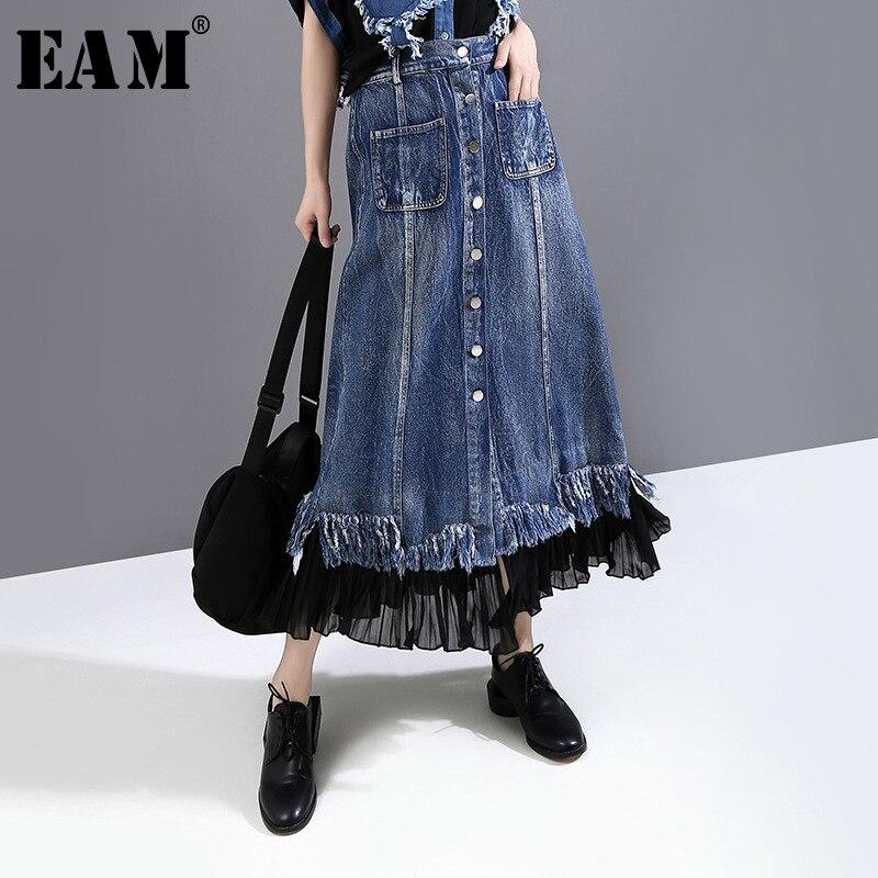 [EAM] Falda vaquera azul de cintura alta elástica de gasa con botones, falda larga de media cuerpo puntada, nueva tendencia de moda para mujeres, primavera otoño 2020 1X023