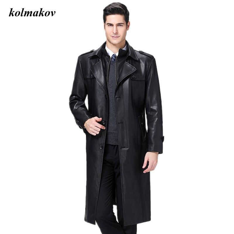 جديد وصول الخريف والشتاء نمط الرجال بوتيك فو جلدية عالية الجودة Thicked الرجال الصوف خندق معطف سترة حجم S-5XL