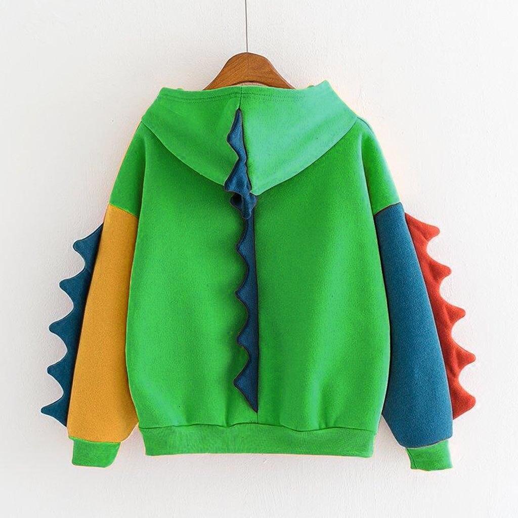 Sudaderas con capucha lindo sudadera Kawaii invierno de las mujeres porque Tops Oversize Harajuku con capucha Jersey color block de dinosaurio chándal sudadera