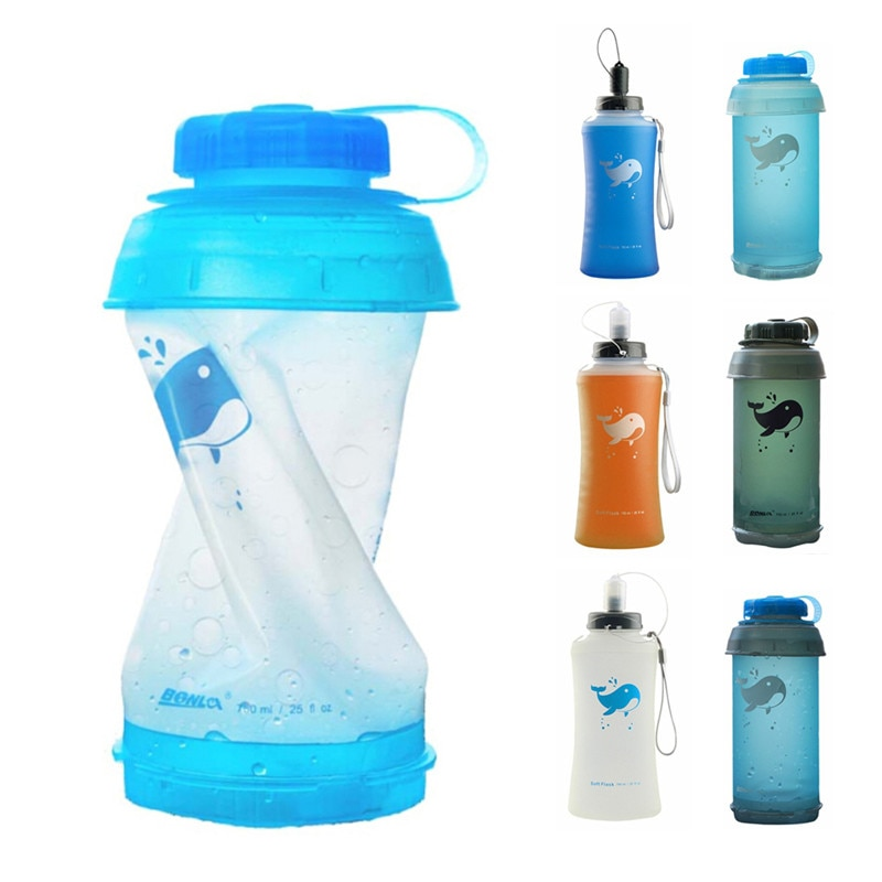 750ML Soft Water Bottle Portable Outdoor Folding Sport Soft Water Bottle Kettle Folding Water Bottle