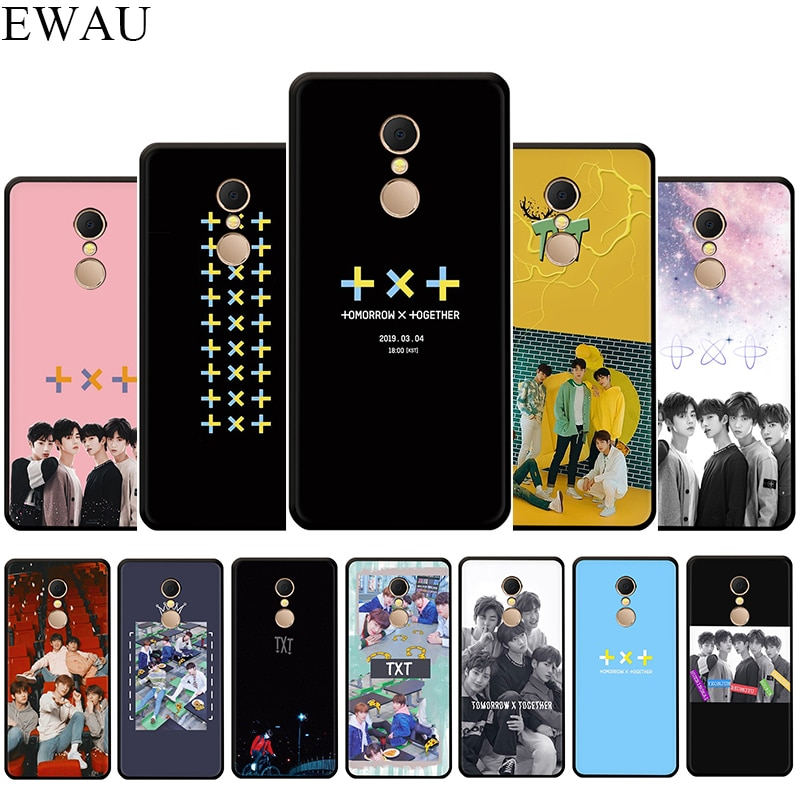 EWAU TXT Silicone phone case for Xiaomi Redmi Note 4 4X 5 6 7 8 Pro 5A Prime