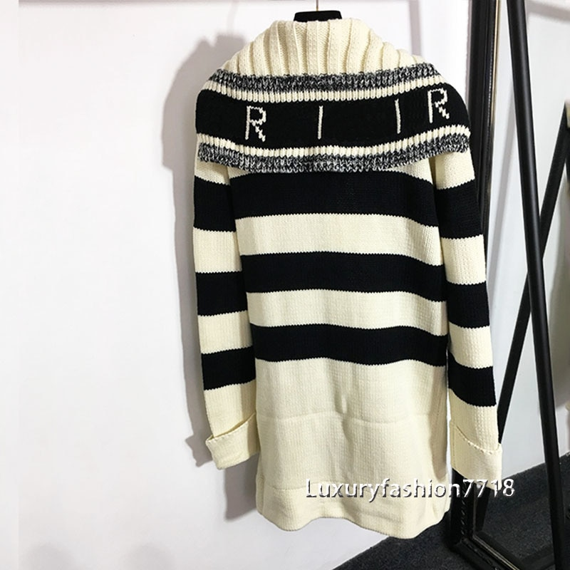 Autumn new style 21 fashion women clothes Vintage Letter logo jacquard Striped Navy collar long sleeved knit cardigan long coat enlarge