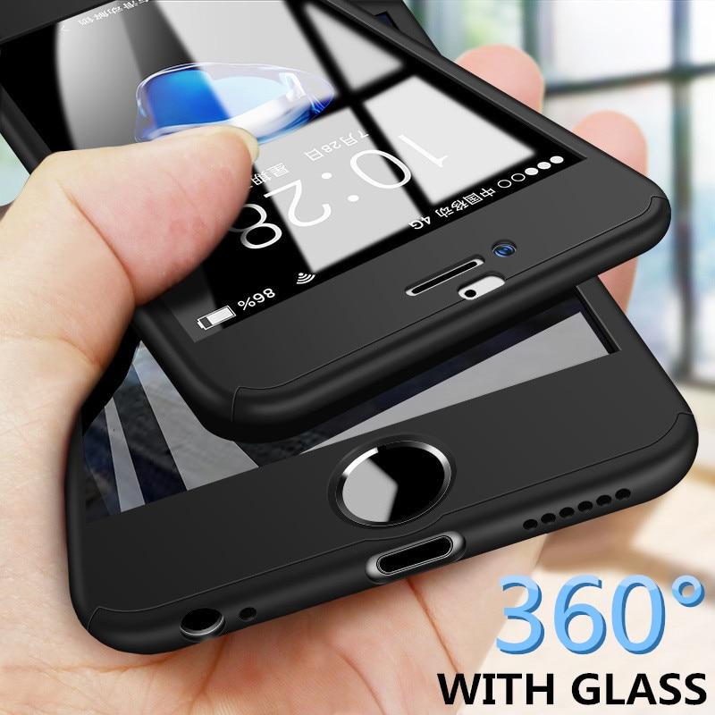 360 Full Case Capa Do Telefone Para o iphone XS X 8 6 7 6s Plus 5 5S SE PC Protective caso capa Para o iphone 7 Mais XS MAX XR Com Vidro