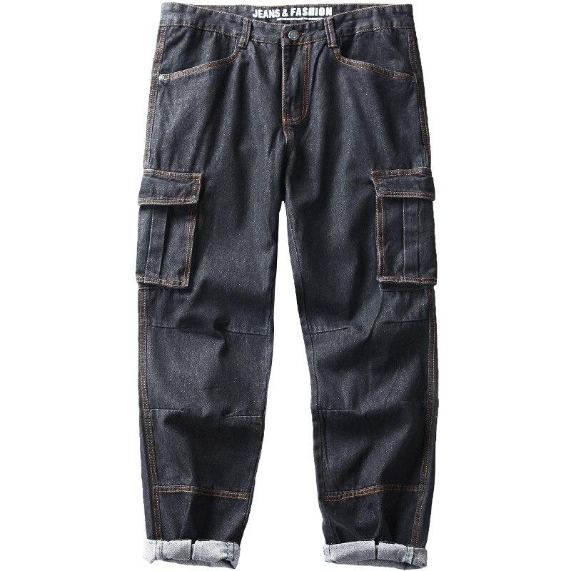 Idopy hombres Cargo Jeans Hip Hop Street Style suelto Fit Multi bolsillos más tamaño pantalones vaqueros pantalones para Hipster 29-42