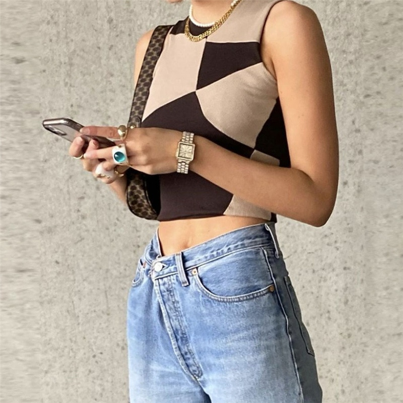 Summer Y2K Brown Tops 2021 Patchwork Sleeveless Crop Top Women Off Shoulder Club Casual Shirts Sexy Tank Top Camis Knit Fashion