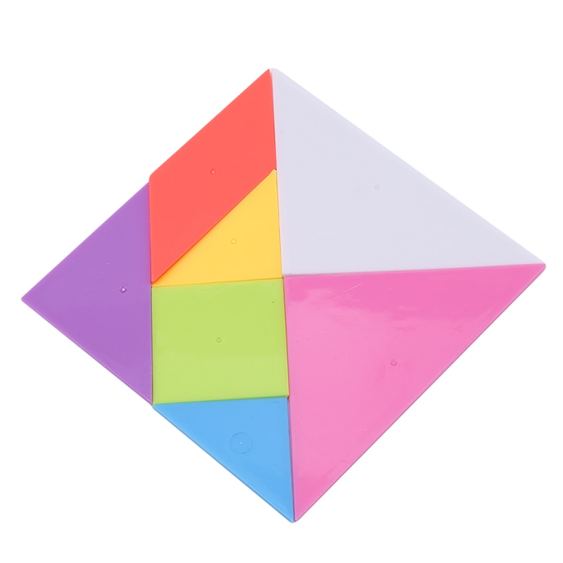 New Style 14*14cm Children Jigsaw Puzzle Rainbow Color Plastic Tangram DIY Brain Puzzle Kid Learning Education Puzzles Toy