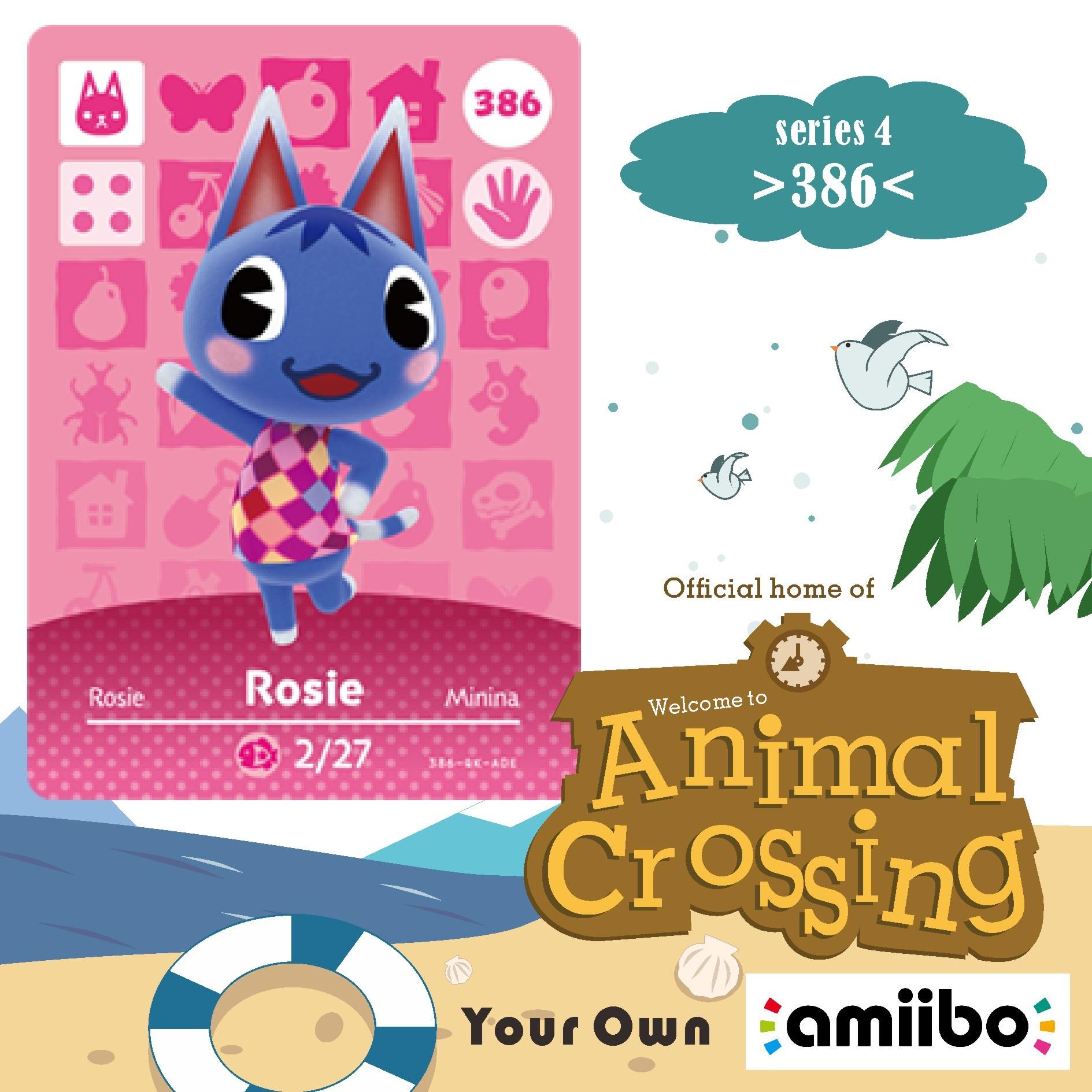 Minina Tarjeta 386 Amiibo, tarjetas de Rosa Amiibo, animales que cruzan a los animales, serie Amiibo Cross Card, 1 Villager 386