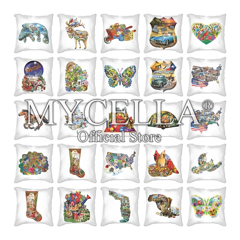 merry christmas cushion cover christmas decorations for home happy new year decor christmas ornament cotton linen pillow cover pillowcase 45cm x 45cm Merry Christmas Cushion Cover Nordic Plaid Pillowcase Animal socks Decorations For Home Decor Happy New Year Xmas Decor Cushion