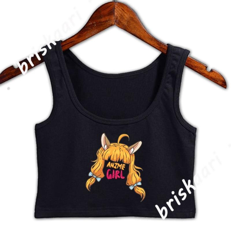 Anime Girl Crop Top Women Sleeveless Summer For Girls Standard Round Neck Top Custom Sexy Vest